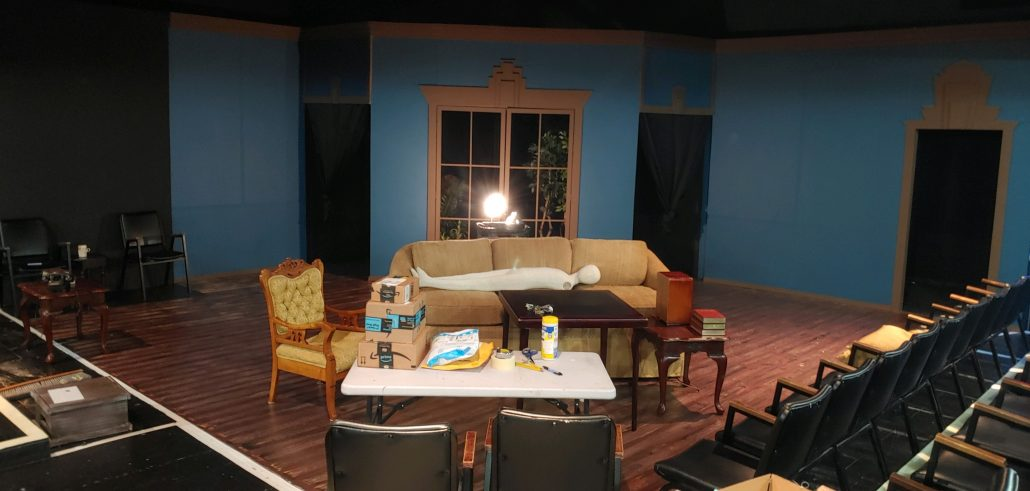 Pull-Tight stage with ghost light and set of The Real Inspector Hound