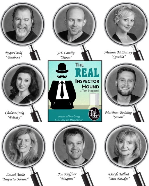 The cast of The Real Inspector Hound at Pull-Tight Players